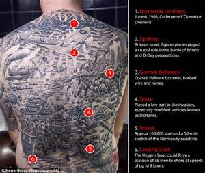 war buff has huge tattoo of d day including tanks and a