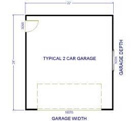 typical dimensions of 2 car garage picture