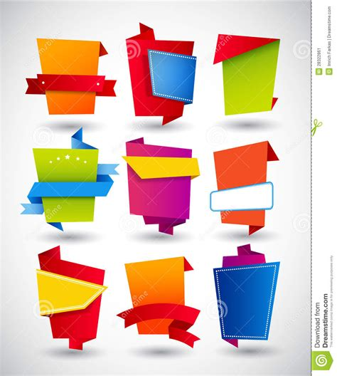 Origami Paper Set - set of origami paper labels stock image image 28322861