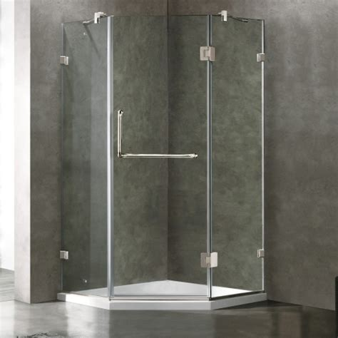 Vigo Shower Door Vigo Frameless Neo Angle Clear Glass Shower Enclosure With Low Profile Base In Brushed Nickel By