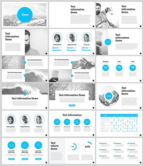 free clean powerpoint template for designers with 18