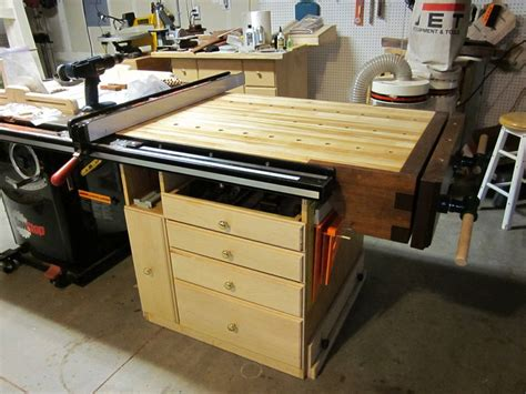 table saw work bench table saw end woodworking bench by kayakguy lumberjocks com woodworking community
