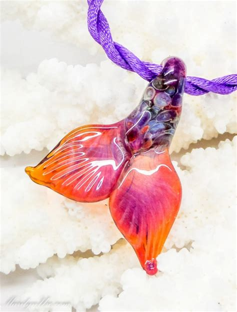 Handmade Mermaid Tails - handmade mermaid necklace made of tough pyrex made to