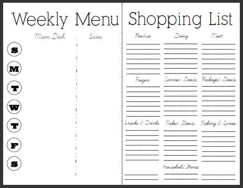 editable menu planner template meal plan with grocery list grocery list template