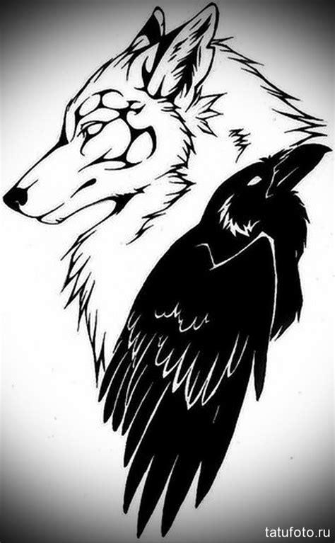 эскиз тату волк и ворон tatufoto ru