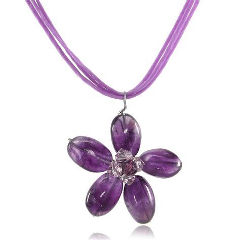 purple amethyst flower pendant with swarovski elements wax