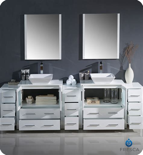 96 bathroom vanity fresca fvn62 96wh vsl torino 96 quot sink modern bathroom vanity with 3 side cabinets and