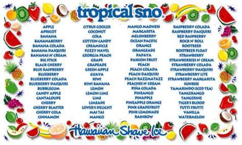 tropical sno  flavors   site   event