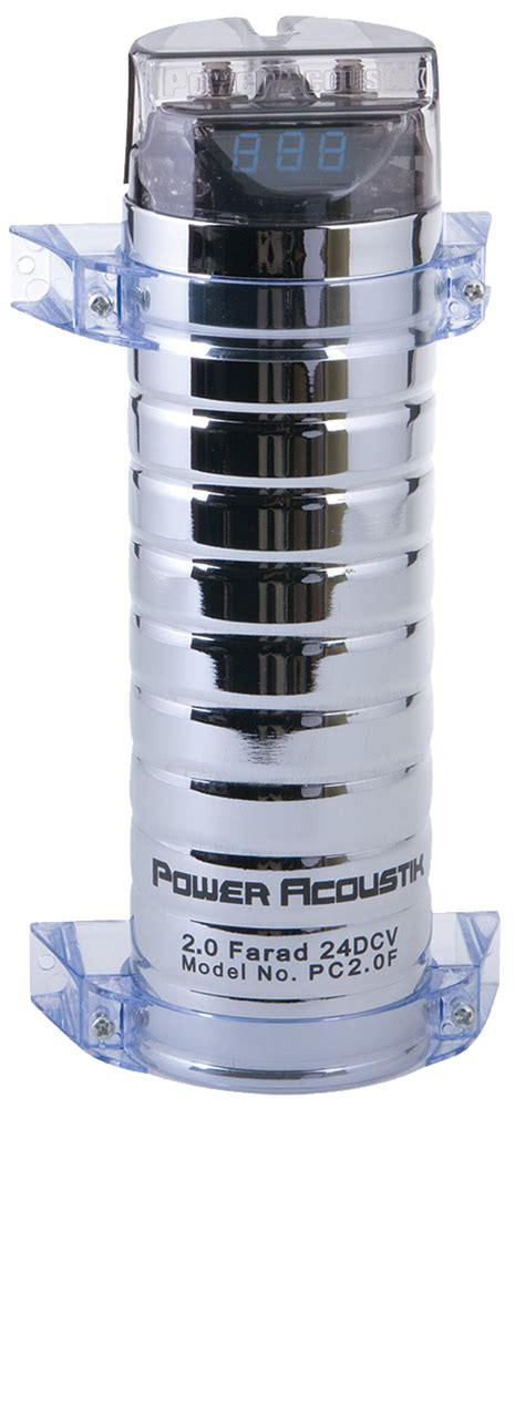 power acoustik pc2 0f 2 0 farad digital capacitor chrome compact pc2 0f
