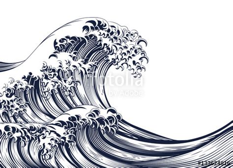 quot great wave vintage style woodcut quot stock image and royalty