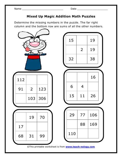 grade 2 worksheets maths addition worksheets for grade 2 mixed up magic addition math puzzleskidz worksheets