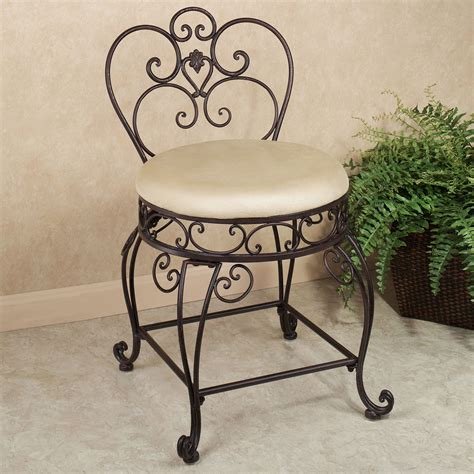 small metal vanity chair aldabella tuscan slate upholstered vanity chair