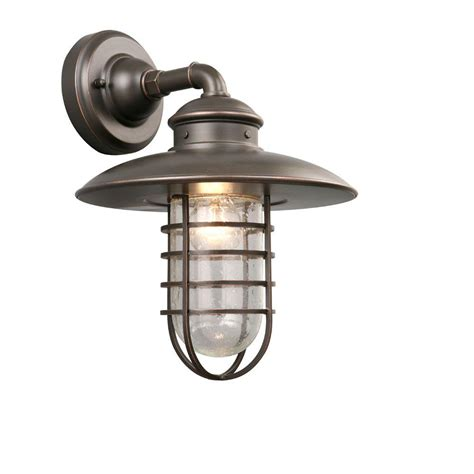 Homedepot Outdoor Lighting Hton Bay 1 Light Rubbed Bronze Outdoor Wall Lantern Dyx1691a The Home Depot