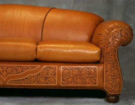 tooled leather sofa tooled leather sofa from rustic artistry cotton ridge