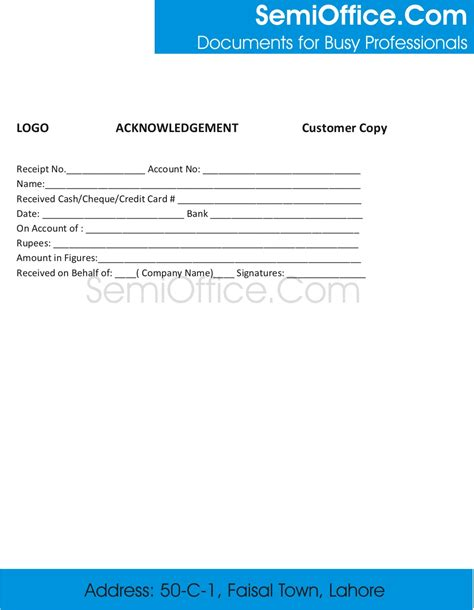Acknowledgement Credit Letter Sle Acknowledgement Receipt Template
