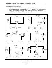 Worksheet Series Circuit Problems Episode 903 Answers seriescircuitproblemswkst worksheet series circuit