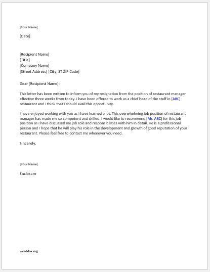 restaurant manager resignation letter word document