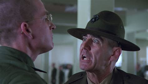 gunnery sergeant r ermey and so it begins in character r ermey