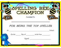 Spelling Bee Award Certificate Template Free Printable Spelling Bee Blank Award Certificates Templates