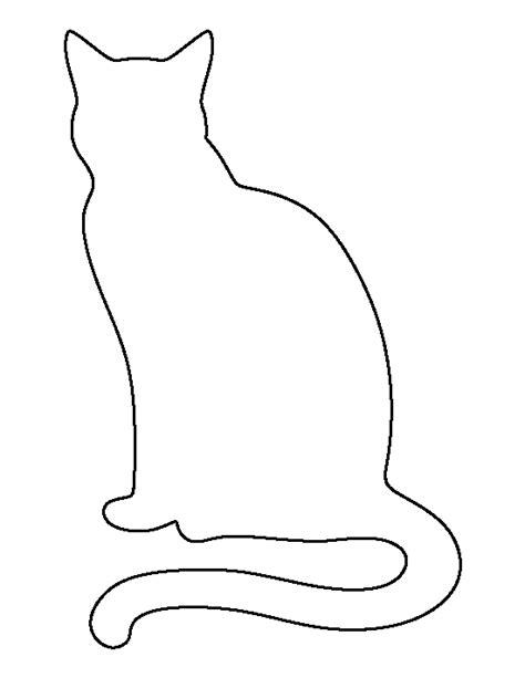black cat template sitting cat pattern use the printable outline for crafts
