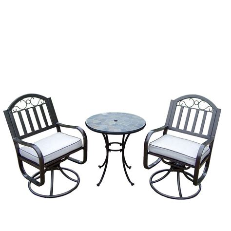 Patio Bistro Table Set Oakland Living Rochester 3 Swivel Patio Bistro Set With Solid Cushions And 26 In