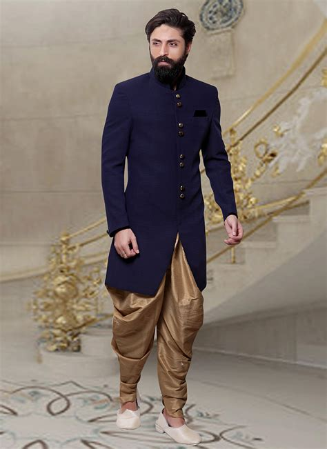 Navy Fashion buy navy blue dhoti style indo western sherwani eid indowestern sherwani shopping