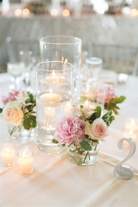 Flower Wedding Table Centerpieces by Les Fleurs Floating Candle Centerpieces Blush Pink