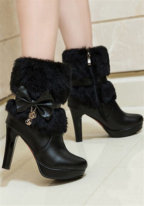 Tragen Bow Casual Boots black toe chunky bow faux fur patchwork casual ankle