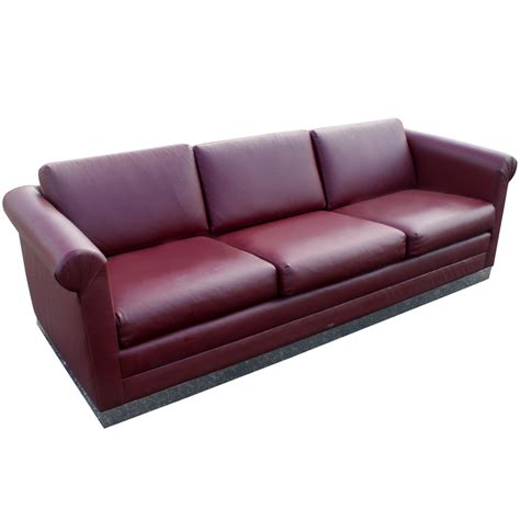 maroon sofa 88 quot mid century modern three seater sofa chrome base ebay