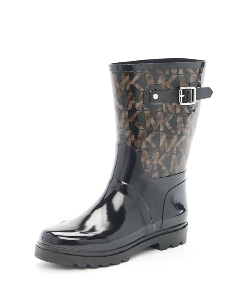 michael kors boots for michael michael kors logo boots in black lyst