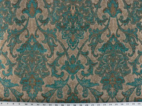 Drapery And Upholstery Fabric drapery upholstery fabric sussex traditional chenille jacquard turquoise ebay