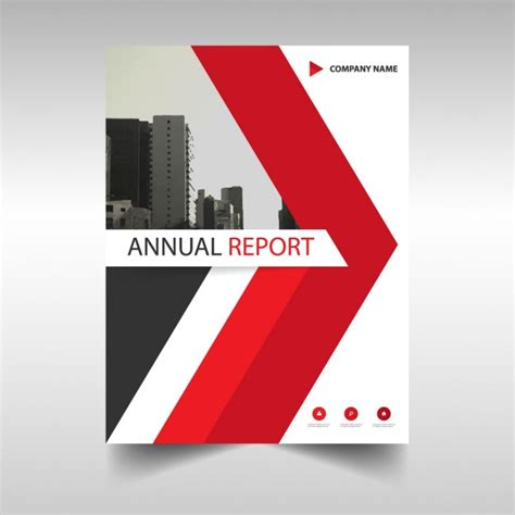 free design cover report annual report cover with red triangle vector free download
