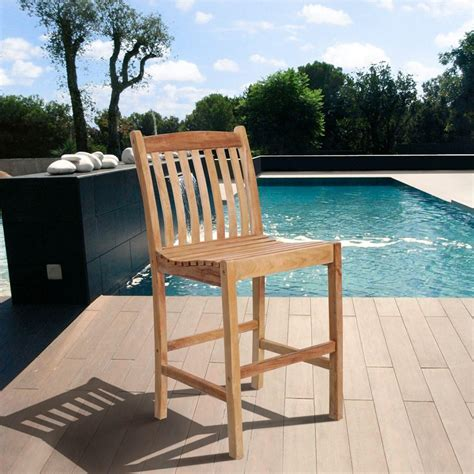 outdoor patio bars amazon com amazonia eden solid teak wood patio bar stools 2 set sc