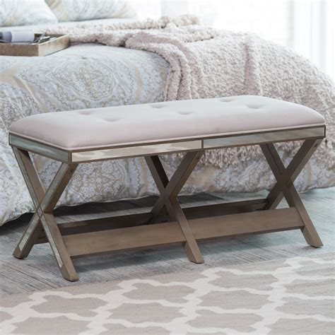 mirrored bench belham living cushioned indoor bench with mirrored frame