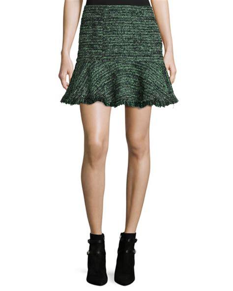 Ruffled Tweed A Line Miniskirt textured tweed ruffle mini skirt green