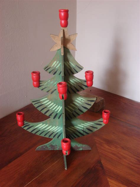 great vintage wooden christmas tree candle holder hand painted