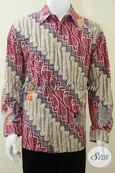 Kemeja Pria Lengan Panjang Kode 575 14 kemeja batik pria lengan panjang klasik modern batik tulis warna cerah corak parang lp1835tp l