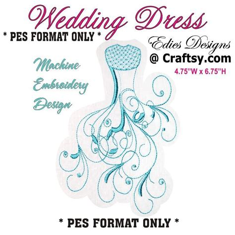 embroidery design wedding wedding dress pes machine embroidery by edies designs
