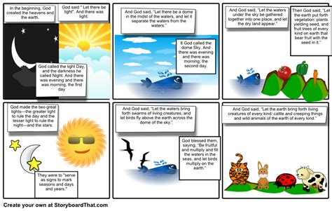 the genesis creation story creation story storyboard by janebrewer