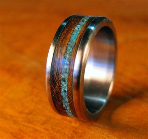 titanium ring with wenge wood and turquoise inlay unique