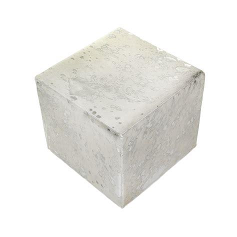 Cowhide Cube Buy A By Amara Acid Burnt Cowhide Cube Pouf White