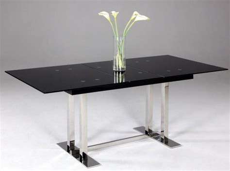 Black Glass Extending Dining Table Extendable Dining Table With Black Glass Top Houston Chtyl