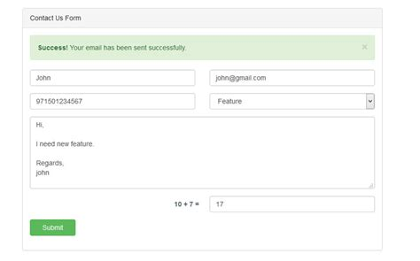 contact us form contact us form by forest of code codecanyon