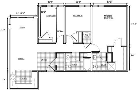 floor plans for 3 bedroom apartments 3 bedroom house floor plan dimensions google search