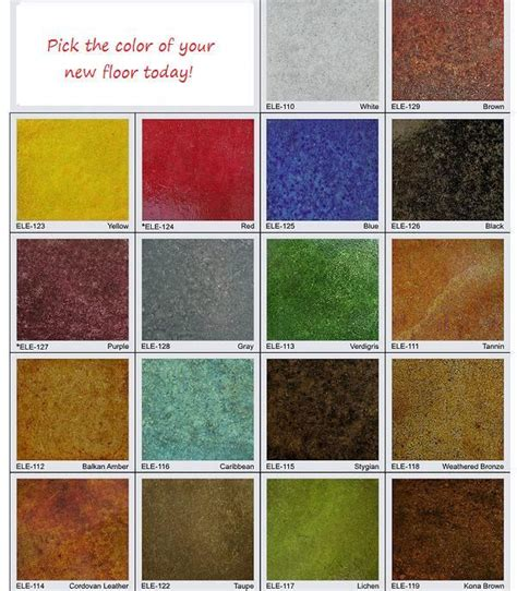 concrete stain color chart from solid impressions abilene decorative concrete epoxy in