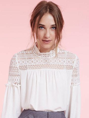 Blouse Aw Dahlia White Peasant Blouse With Lace Shoulder