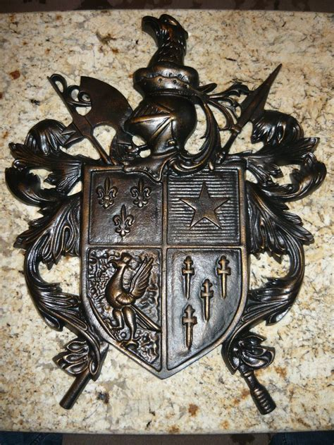 castle home decor cast aluminum shield wall plaque medieval old world royal