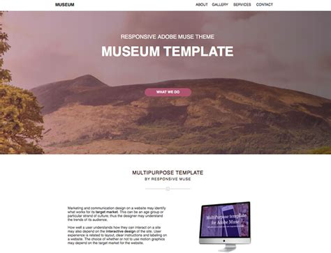 museum template museum one page template responsive muse templates widgets