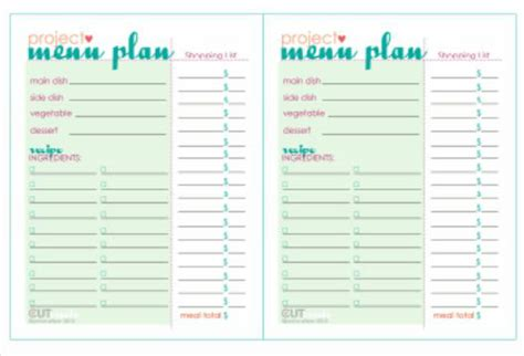 free printable dinner menu planner 7 best images of printable dinner party menu templates