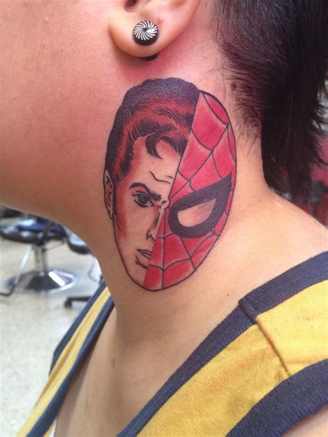 small spiderman tattoo small temporary scooter on side neck